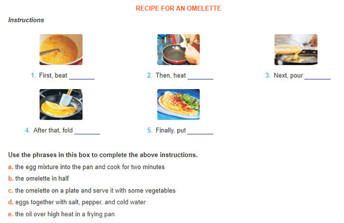 tieng-anh-lop-7-moi.Unit-5.Skills-1.4. Look at the pictures of how to cook an omelette. Use the phrases in this box to complete the above instructions