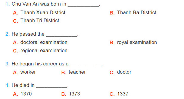 tieng-anh-lop-7-moi.Unit-6.Skills-2.1. Listen to the recording and circle the appropriate answer A, B, or C