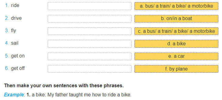tieng-anh-lop-7-moi.Unit-7.Getting-Started.3. Match a verb on the left with a means of transport on the right. There may be more than one correct answer. Add a preposition when necessary