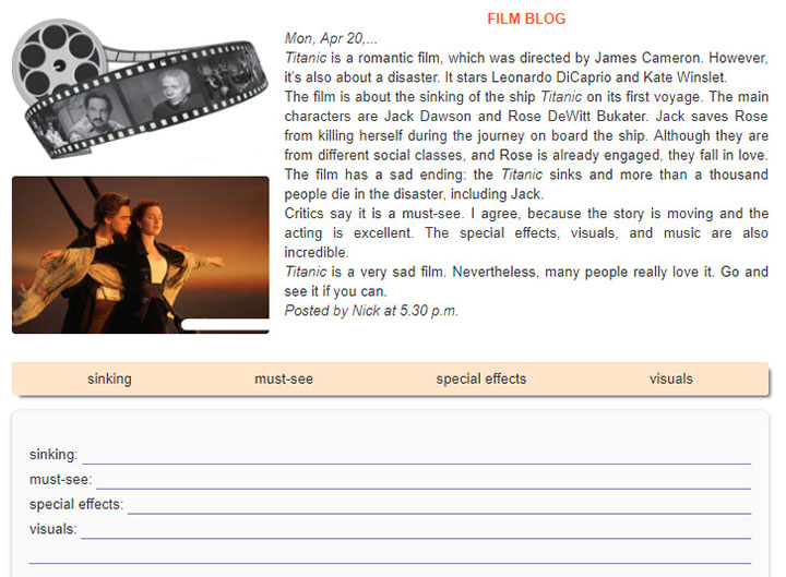 tieng-anh-lop-7-moi.Unit-8.Skills 1.1. Read Nick's review of the film Titanic on his blog. Then find and underline these words in the passage. What do they mean