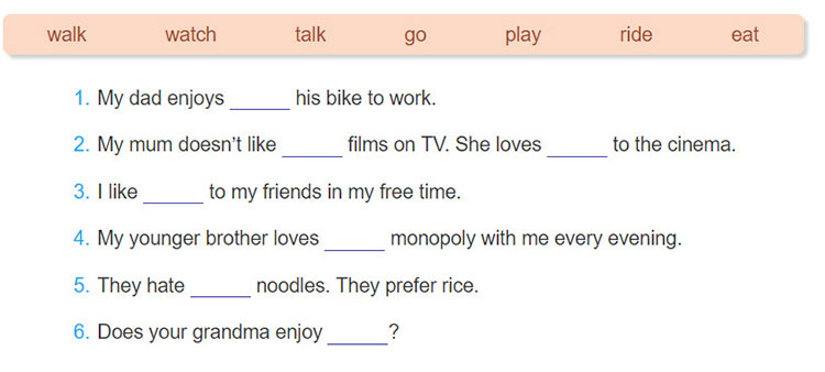 tieng-anh-lop-7-moi.unit-1.A-Closer-Look-2.4. Complete the sentences, using the -ing form of the verbs in the box