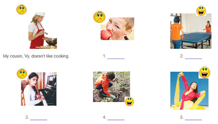 tieng-anh-lop-7-moi.unit-1.A-Closer-Look-2.5. Look at the pictures and write sentences. Use suitable verbs od liking or not liking and the -ing form